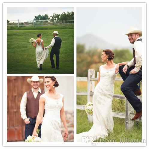 Country Wedding Dress with Boots