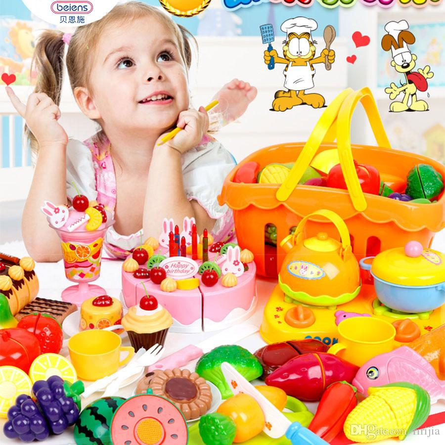 510d722023e2 2019 Beiens Plastic Kitchen Food Fruit Vegetable Cutting Kids Pretend Play  Educational Toy Cook Cosplay Mini Food Toys From Ririjia