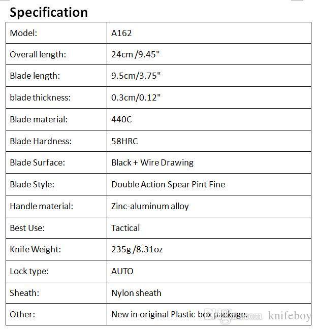 Oferta especial Allvin Fabricação A162 Auto faca Tático 440C Dupla Ação Half Serration Lâmina Ao Ar Livre Camping Caminhadas Sobrevivência EDC