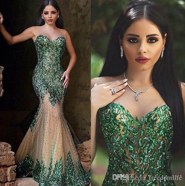 Arabic Style Emerald Green Mermaid Evening Dresses Sexy Sheer Crew Neck Hand Sequins Elegant Said Mhamad Long Prom Gowns Party Wear