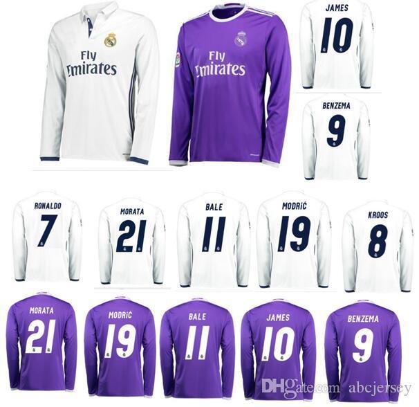 25f8aa42a 2019 Real Madrid Jersey 2016 2017 Long Sleeve Morata Madred Cristiano  Ronaldo CR7 Soccer Jerseys Bale James Benzema Sergio Ramos Football Shirt  From ...