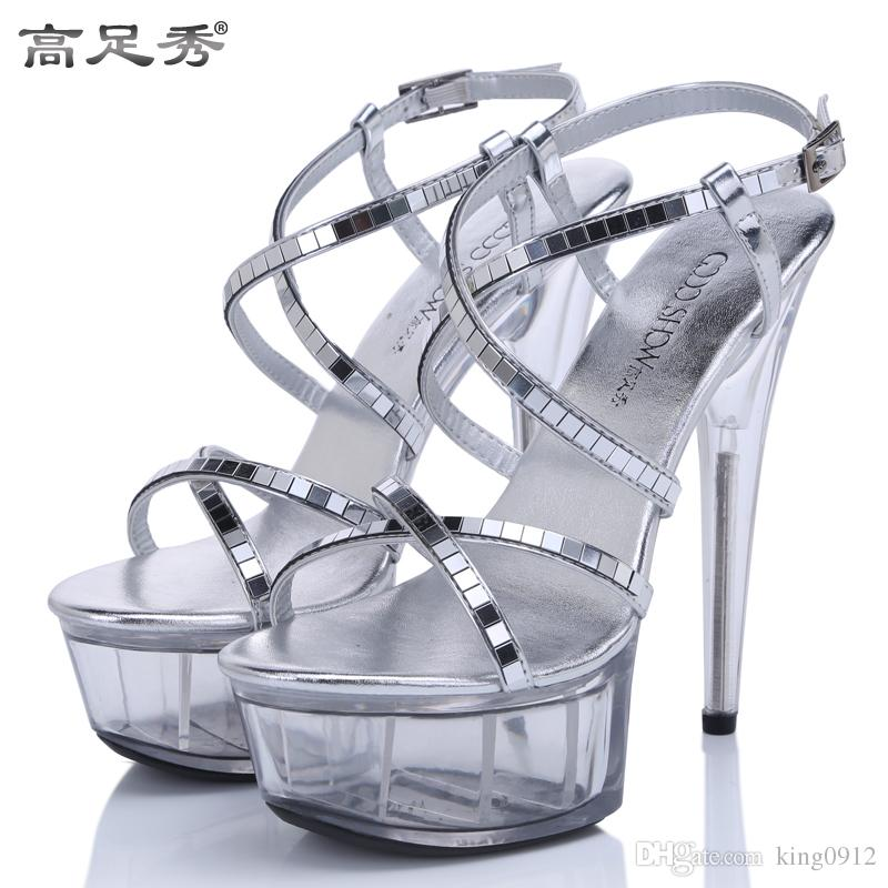 2016 Europe and USA Nightclub stage model super high heels Sequins sandals Transparent waterproof fine with glass slipper