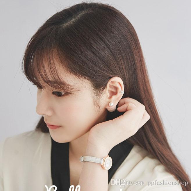 S925 Silver Ear Stud, Boucles d'oreilles perles de haute qualité Bijoux, grand bijou en argent, dames Double perle Taille de tempérament Perle