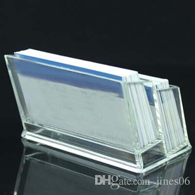 Alta calidad 2 unids doble capa acrílico titular de la tarjeta de visita oficina de la escuela destop suministros tarjeta de visita caso