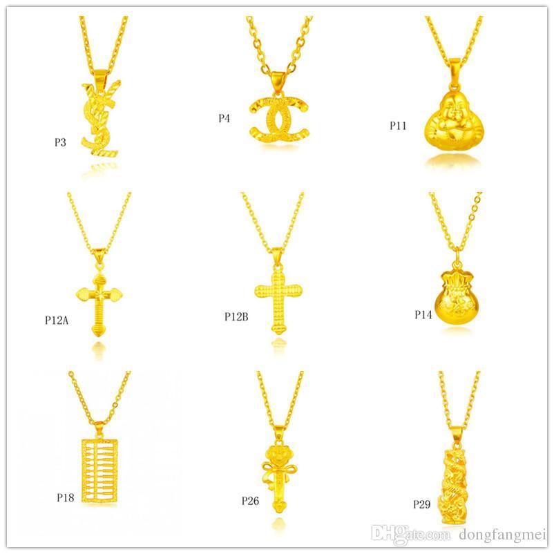 Wholesale fashion 24k gold pendant not contain chain a mixed style, cross abacus Fukubukuro yellow gold pendant DFMKP9