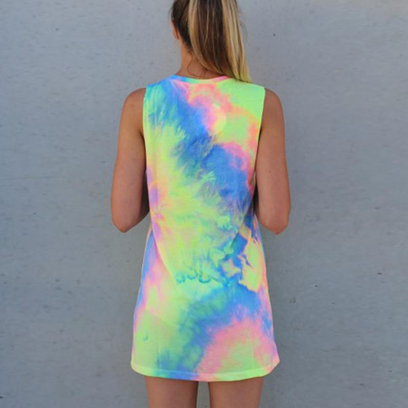 2016 New novelty woman rainbow ethnic dresses sleeveless Tie-dyed dress color sleeveless vest vitality woman casual dress retails