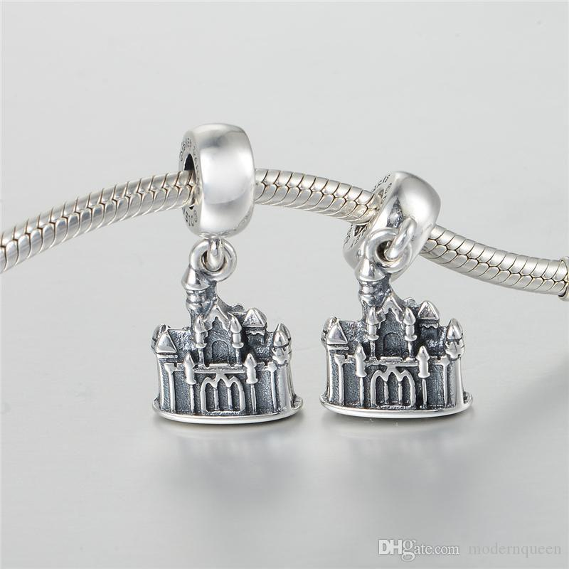 Charms castle pendant beads S925 sterling silver fits for pandora style charm bracelets aleCH629H9