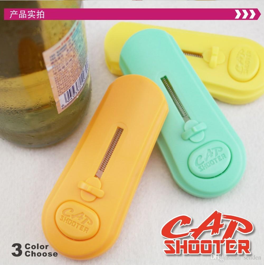 New Cap Zappa Shooter bottle opener with fridge magnet cap launcher sticker Cap shooting Bar Kitchen Beer Bottle Opener Refrigerator Sticker