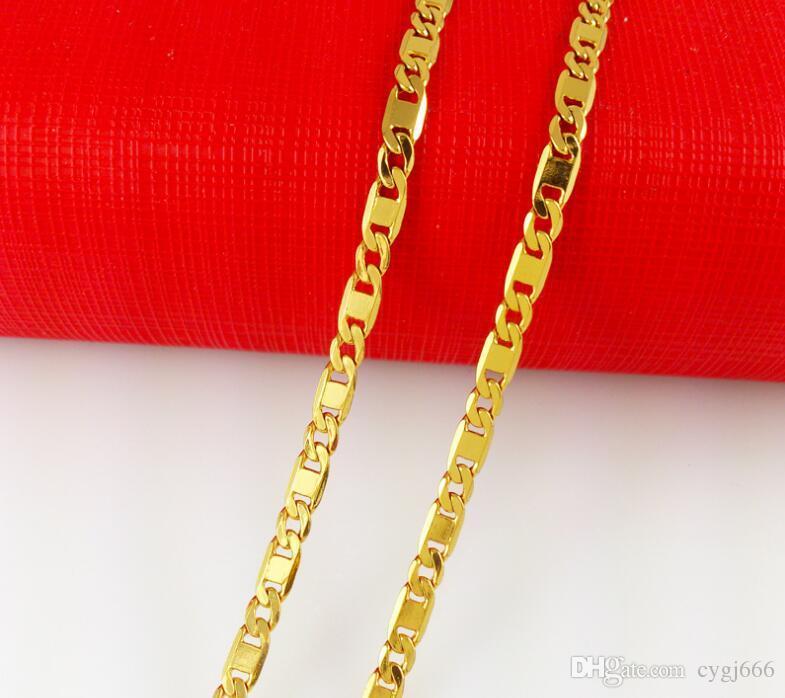 عارضات الأزياء الساخن بيع سلسلة واحدة 24k قلادة مطلية بالذهب الحساسية تتلاشى منذ وقت طويل
