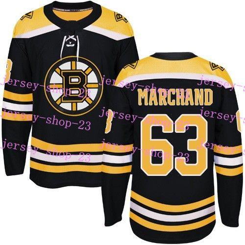 Özelleştirilmiş Mens Womens Çocuk 2017-2018 Yeni Logo Boston Bruins 17 Milan Lucic 46 David Krejci 63 Brad Marchand 77 Ray Bourque Hokeyi Formalar