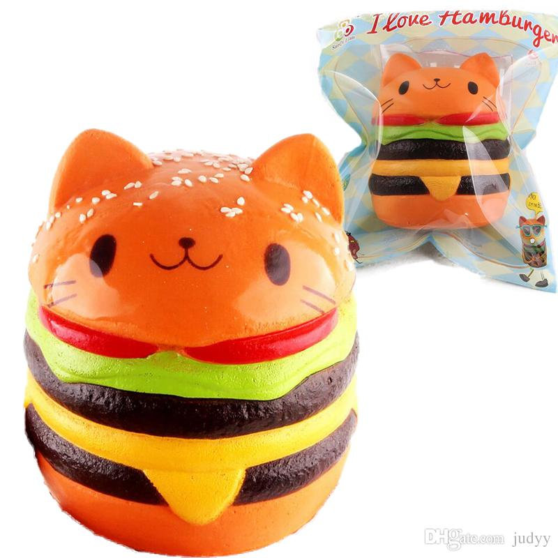Squishy Hamburger Cat : New 11cm Squishy Hamburgers Cat Burger Decompression Bread Toy Soft Stuffed Animal Artificial ...