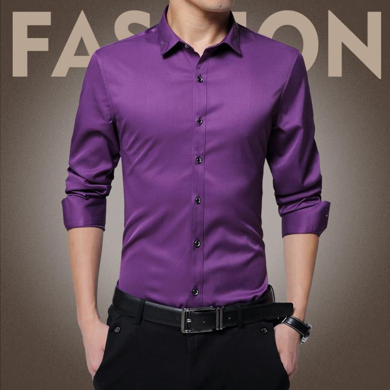 798bb235cb 2019 Wholesale New Arrived 2017 Mens Long Sleeve Work Shirts Casual Silk  And Cotton Men Shirt Plus Size Male Wedding Dress Shirts Solid From  Fitzgerald10