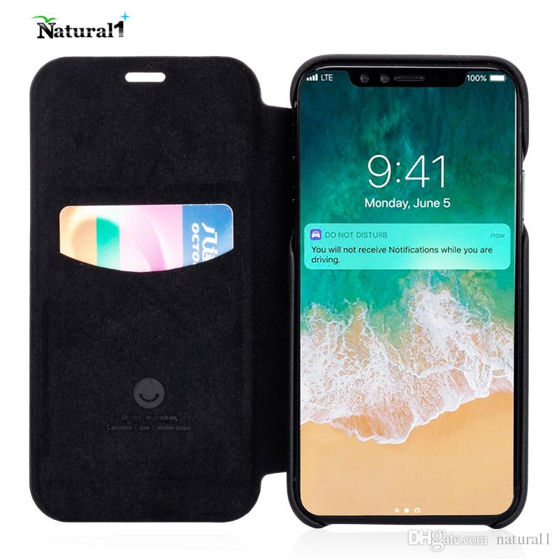 new styles cfdfc 5a9f9 Natural Flip Cover for iPhone X, Flip PU Leather and Soft Fiber Slim Mobile  Phone Cover Case for iPhoneX 5.8 inches