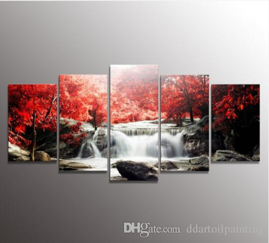 Exceptional 5 The Panel Wall Art Of Mangroves And Waterfalls Painting Pictures Print On  Canvas The Picture For The Home Modern Decoration Oil Painting Wall Picture  Home ...