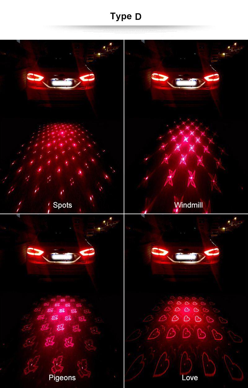 Противотуманные фары стайлинга автомобилей анти сигнал столкновения индикатор безопасности вождения 4 модели сигнальная лампа задний фонарь светодиодный свет автомобиля лазер