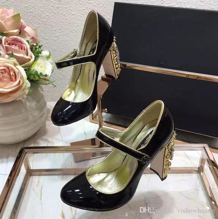 2017 mary jane zapatos de vestir de diseñador hechos a mano de cuero genuino nueva llegada de las mujeres de moda zapatos de boda de cristal de tacón alto fiesta de noche bombas