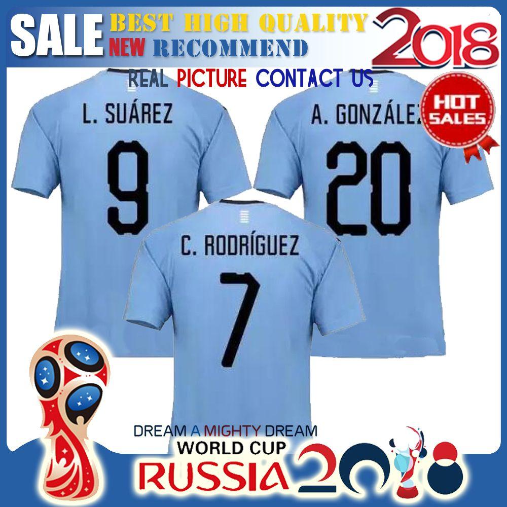 241c7190104c2 Equipo Nacional De Fútbol De Calidad Superior 2018 Jerseys De Fútbol 2017  2018 D.Godin E.Cavani World Cup Camisetas De Fútbol De Suarez De Casa Por  Bat520