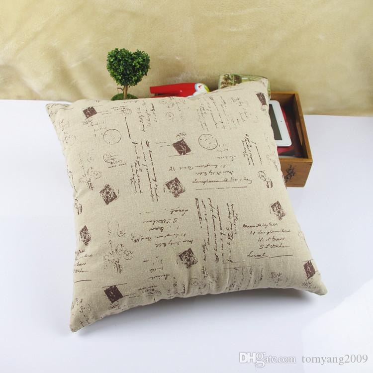 Popular European Pairs Pillow Case Vintage Style Print Blend Cotton Linen Pillow Case Bed Sofa Cushion Cover Home Accessories
