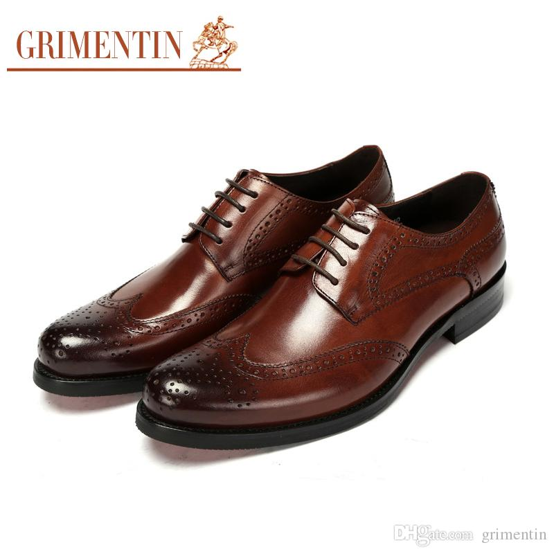 GRIMENTIN Hot Sale Wingtip Carved Classic Mens Oxford Shoes Luxury Brand  Designer Men Dress Shoes Genuine Leather Business Male Formal Shoes Shoes  Online ... 8a2279956