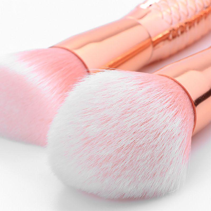 Mermaid Makeup Brushes Set 3D Rainbow Design Blush Powder Foundation Eyeshadow Eyebrow Lip Fan Blending Cosmetic Makeup Brush Tools
