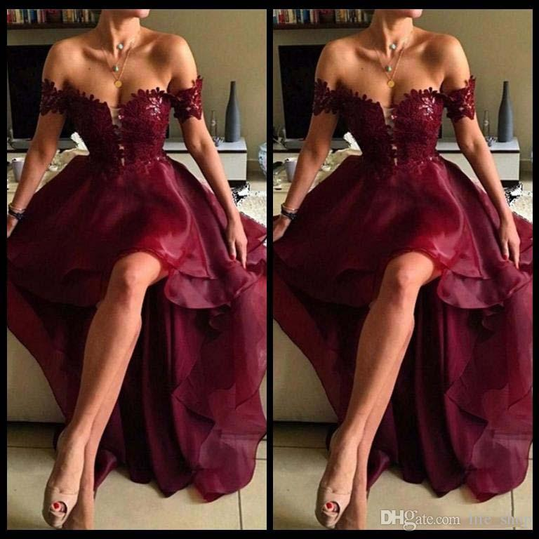 Off Shoulder Burgundy Prom Dresses 2017 Sexy A Line lace Applique Hi Lo Organza Prom Party Gowns