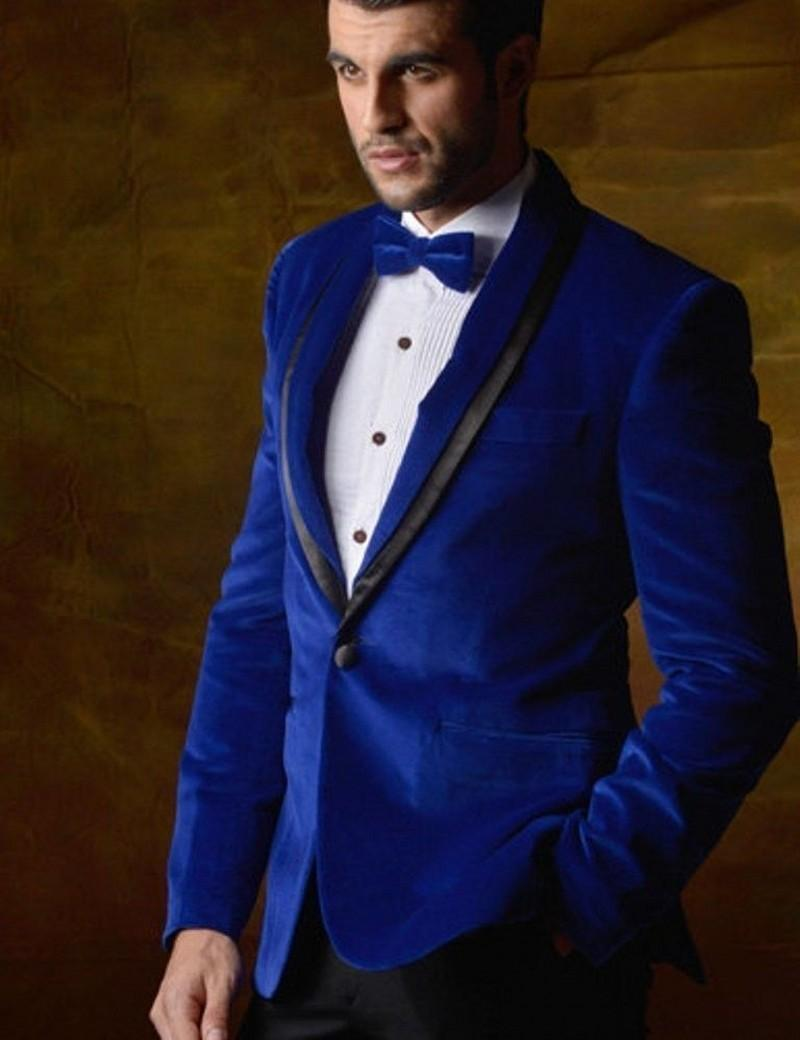 New Arrival One Button Blue Velvet Groom Tuxedos Groomsmen Shawl ...