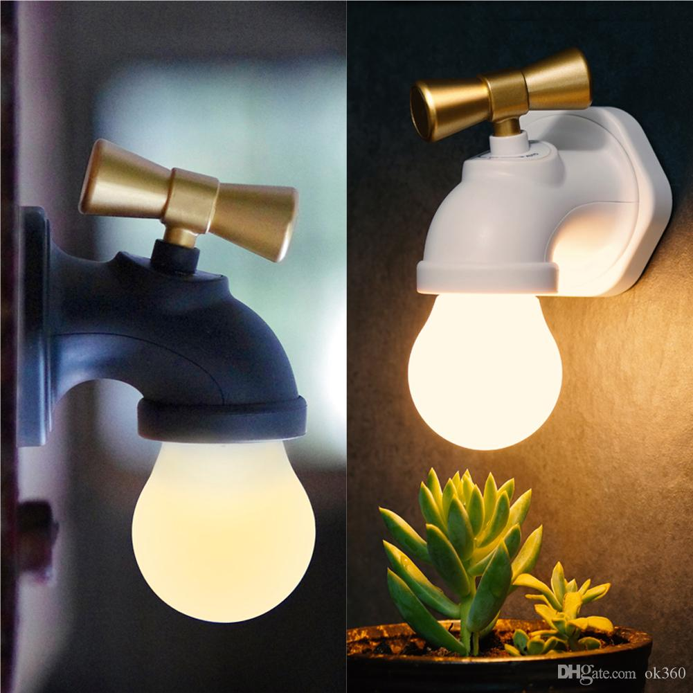 Creative Faucet Type Intelligent Voice Control LED Night Lamp USB Rechargeable Tap Night Light Home Hallway Lighting Kids Gift