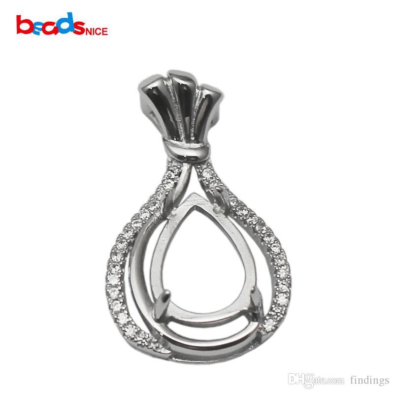 Ciondolo in argento sterling 925, gemma Cabochon Base, misura 12x8mm pietra a goccia, 2016 nuovo caldo ID 34504