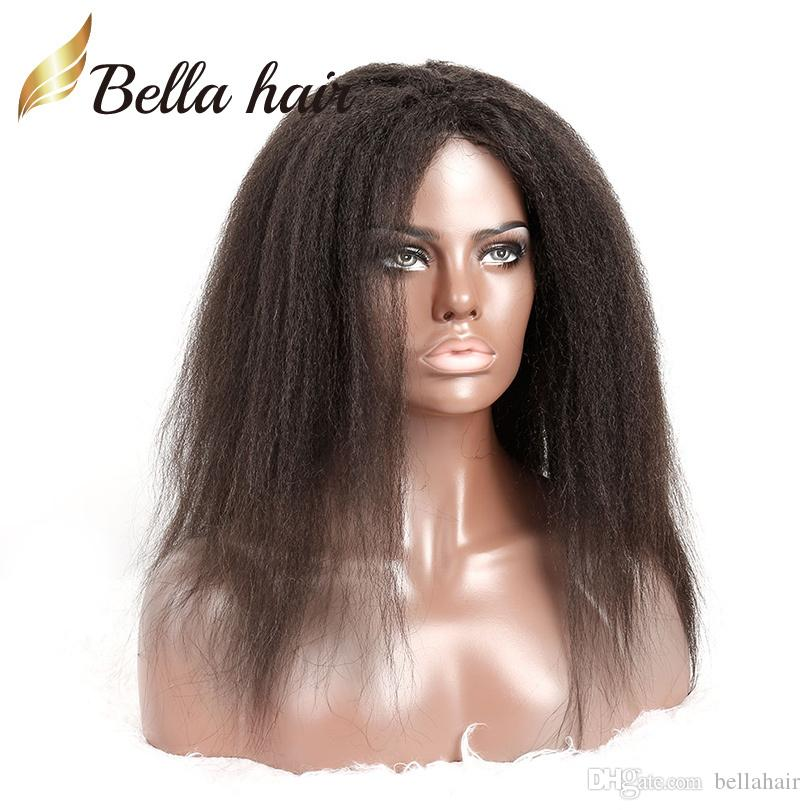 Full Lace Wigs for Black Women 100% Human Hair Lace Wigs Kinky Straight Natural Color Medium Cap Bella Hair