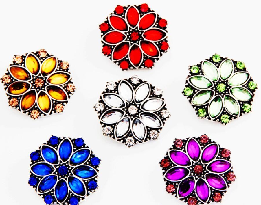 18MM Noosa Snaps Button mit Strass 6 Mix Farben Noosa Chunks Snap Button Fit Noosa Diy Schmuck Charm Snaps Armbänder