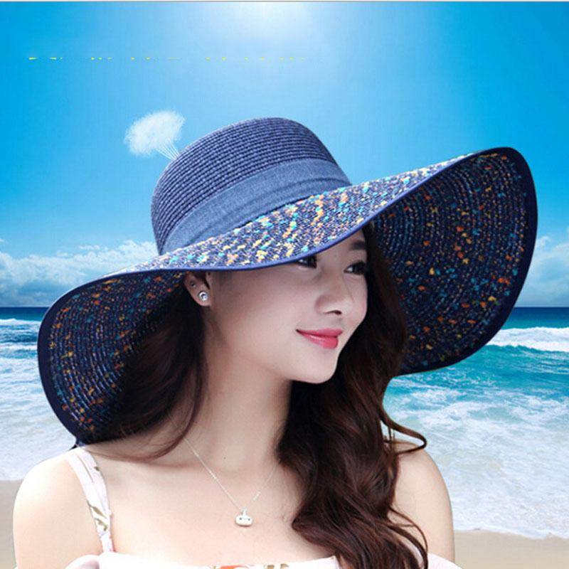 ddd78d37c82 Wholesale Women S Beach Hats Caps 2017 Summer Fashion Foldable Chiffon Floppy  Sun Hats Casual Ladies Sombreros Bowknot Hat Ladies Boater Hat Fascinator  Hats ...