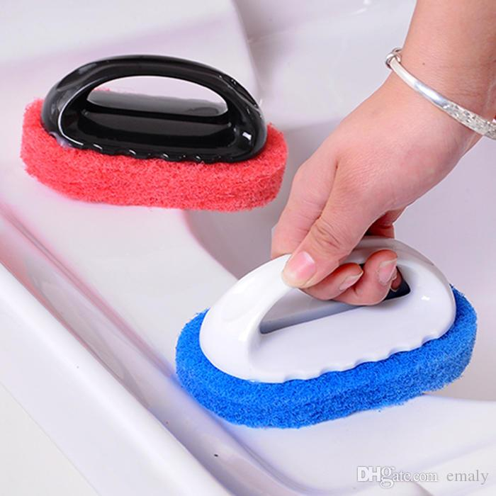 Handle decontamination sponge hard bottom clean brush stove bathroom bath brush floor tile wipe tiles wipe