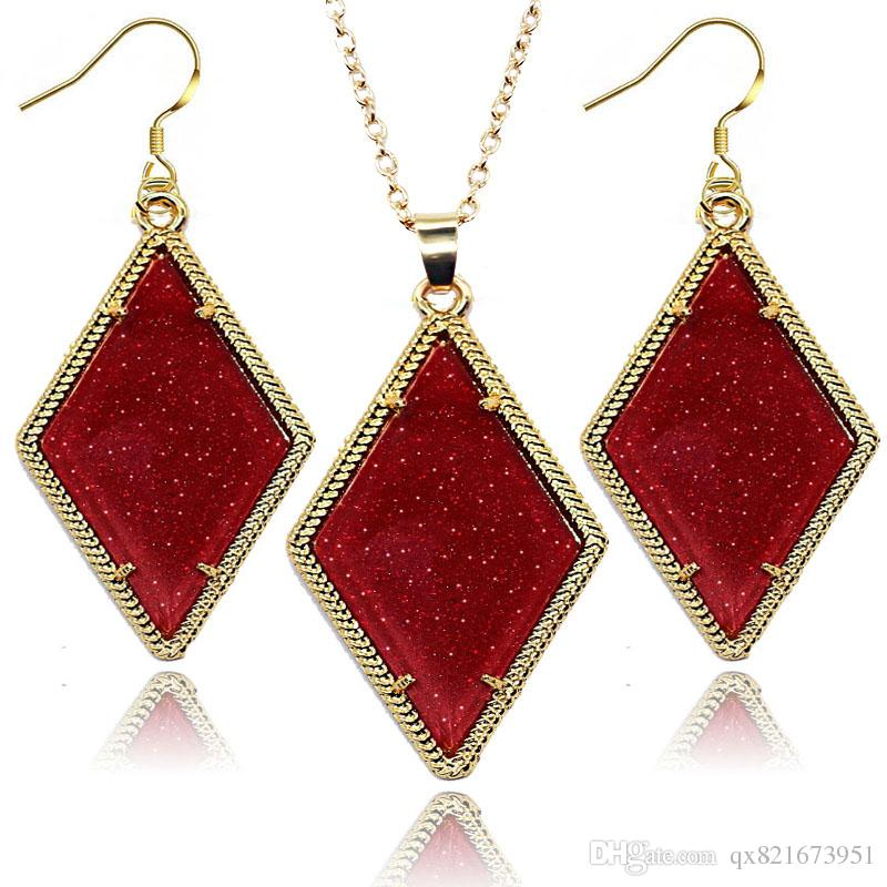 2018 2016 New Jewelry Rhombus Jewelry Set Earrings And Necklace ...