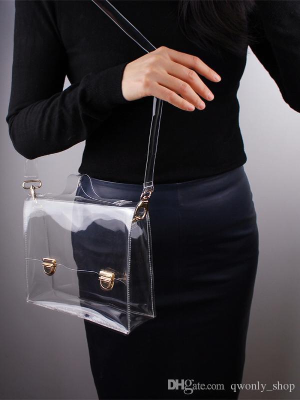 2017 Nueva Moda de PVC Bolsa Transparente Claro Bolso de Mano Bolso de Hombro de Las Mujeres Messenger Cross Bag Bolsas de Embrague de Teléfono Al Aire Libre