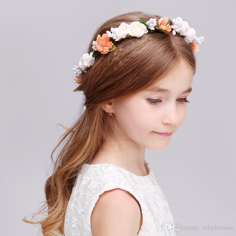 Wreaths Girl Head Flower Crown Bridal Hair Accessories Artificial Flower Head Wreath For Hair Wedding Garland Headpiece