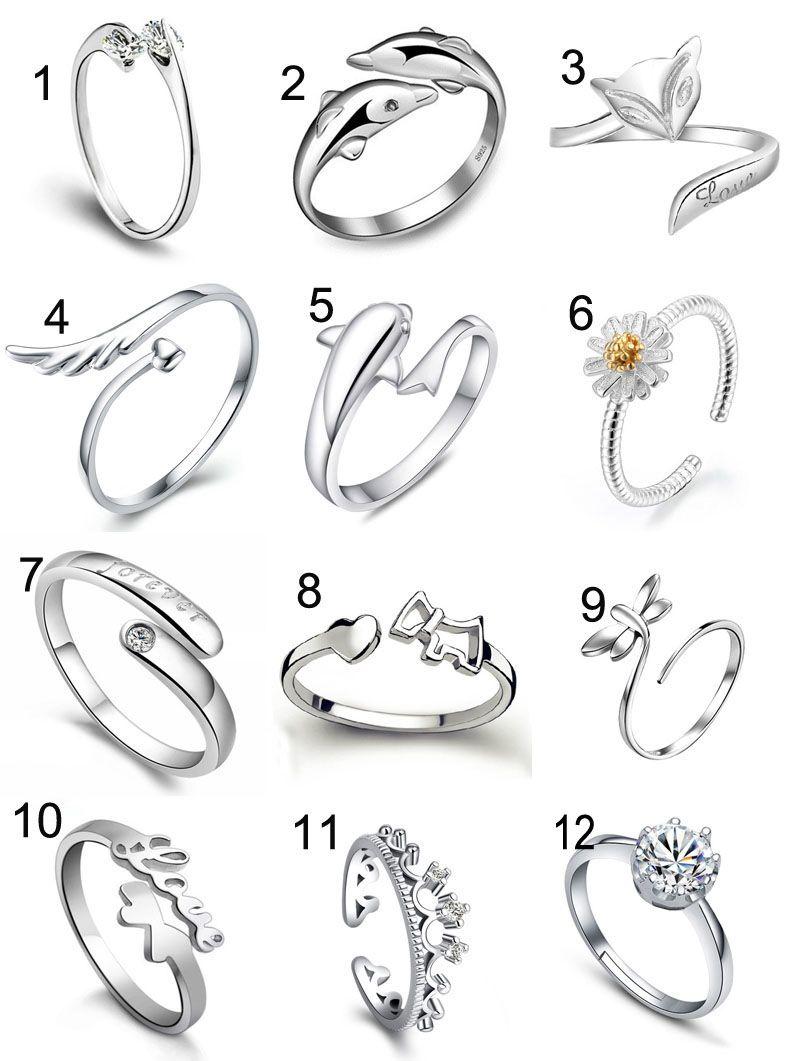 Anelli d'argento anelli di cristallo delfini Dolphins Dragonfly angelo volpe cuore anello regolabile anello moda donna anelli gioielli e sabbioso nave