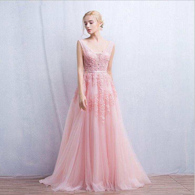 Floor Length Formal Evening Dress Gown 2015 New Elegant Pink A-line ...