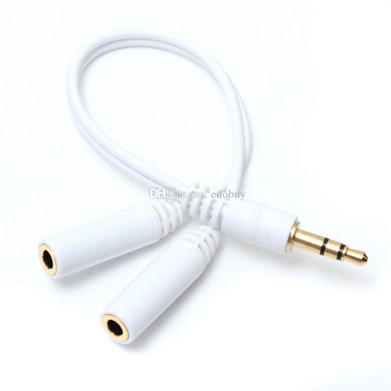 Novo Branco 3.5mm Fones De Ouvido Fones De Ouvido Cabo Adaptador de Áudio Cabo de Chumbo Jack Y Splitter para 2