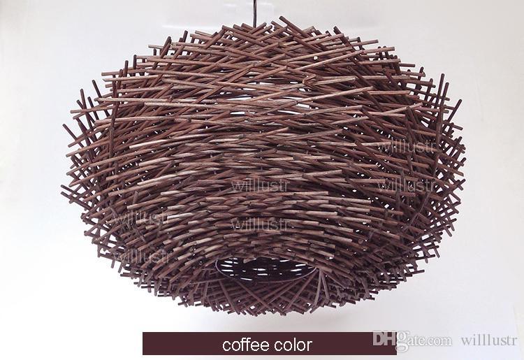 willlustr vime luminária pássaro artesanal suspensão ninho hotel luz iluminação bar restaurante shopping sala varanda rattan pendurado lustre