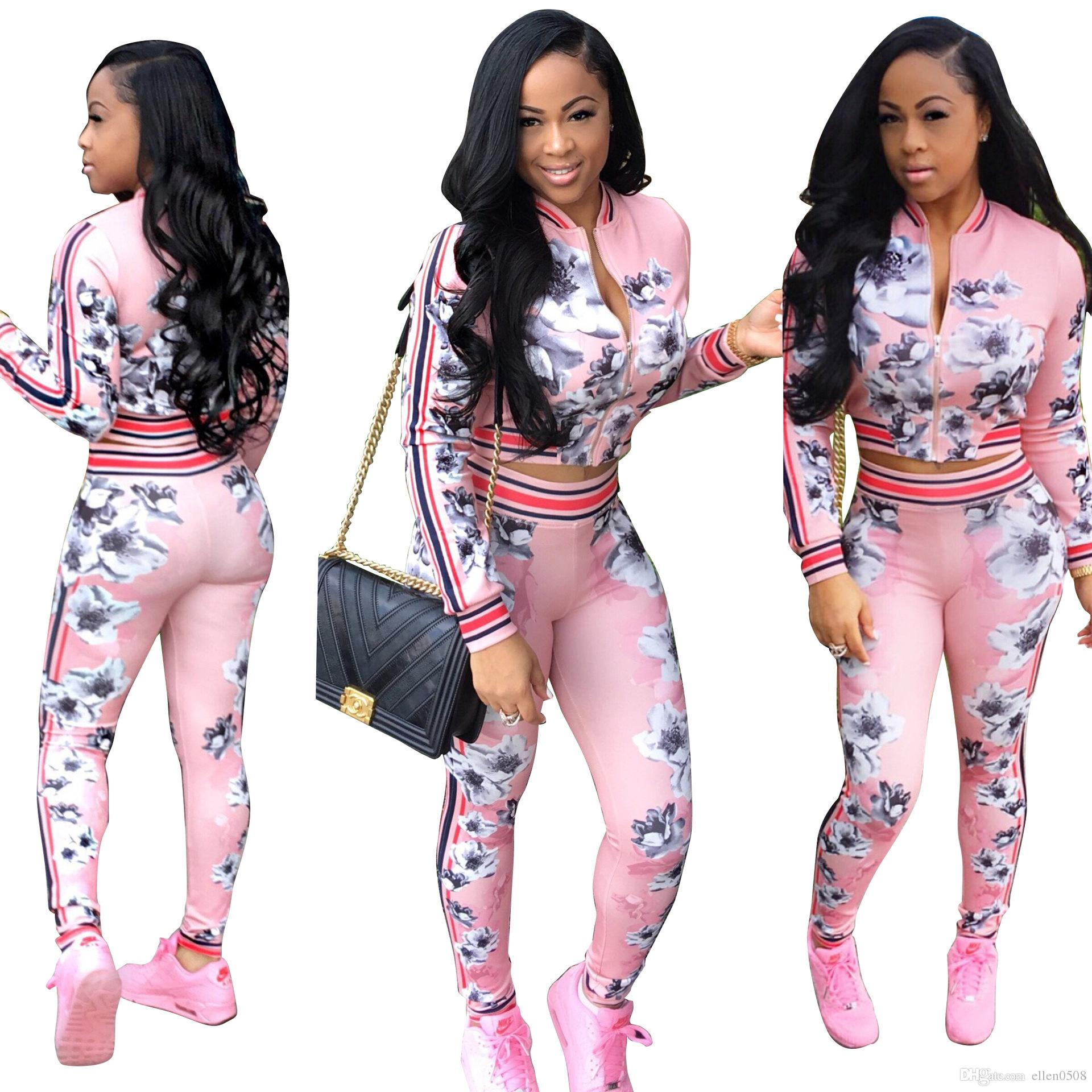 74f89e2a7e 2019 Womens Two Piece Outfit Set 2016 Autumn Floral Print Front Zipper  Clothes Set Casual Long Sleeve Tracksuit Sport Suits From Ellen0508
