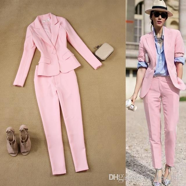 2019 Brand Women Sets Womens Business Suits Pink Pants Suit Formal