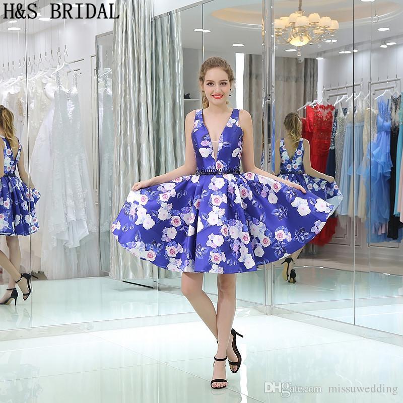Großhandel Junior Kurzes Abschlussball Formales Kleid Blaues Muster ...