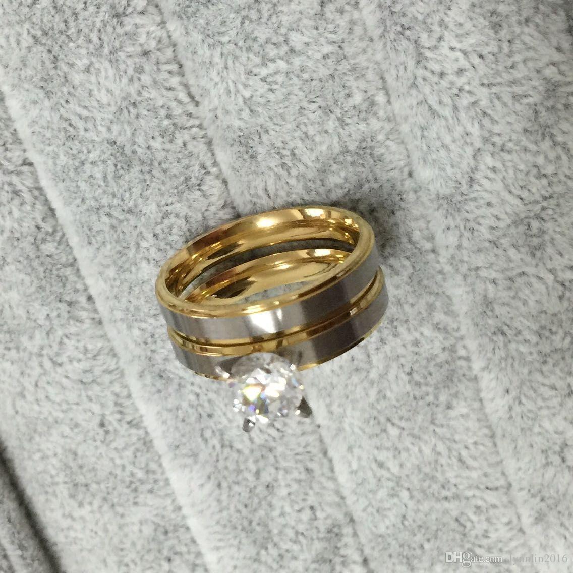 4 мм титана стали CZ Алмаз корейский пара кольца набор для мужчин женщин обручальное любителей, его и ее обещание, 2 тон золото серебро