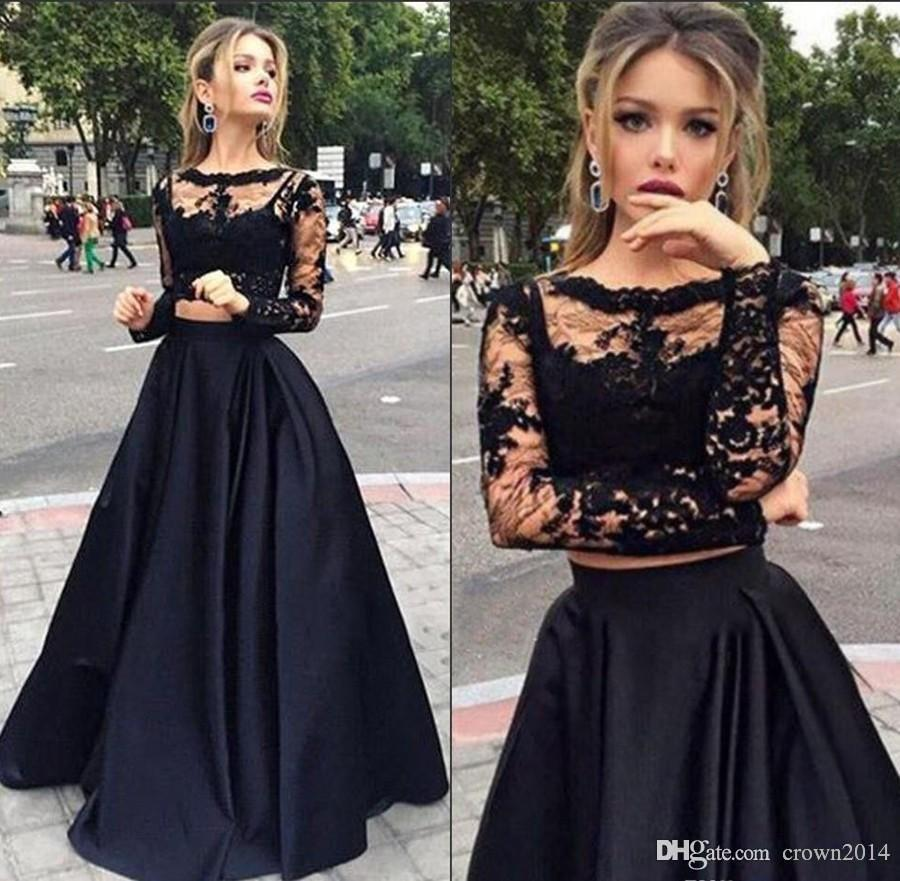 efdba8a116d Lace Long Sleeve Two Piece Prom Dresses 2017 Black Scoop Neck Tulle Elastic  Woven Satin Appliques A Line Floor Length Custom Made Fast Shipp Custom Prom  ...