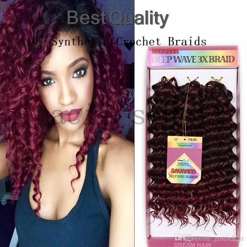 Deep Wave Curly Weave 10inch 3packs Synthetic Crochet Braids Hair Kanekalon Senegalese Havana Twist Jerry Braiding Mambo