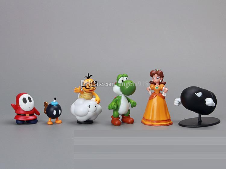18 Pz / set Super Mario Bros Yoshi action figures 3-7 cm Mario Luigi Yoshi Donkey Kong Giocattoli in PVC Bambole di plastica di buona qualità Regali bambini L148
