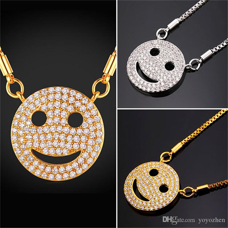 de606c25cc20b Wholesale Fancy Gold Smile Pendant Necklace 18K Real Gold Plated Cubic  Zirconia Jewelry Gift For Women Girls Custom Jewelry Gold Jewellery From  Yoyozhen