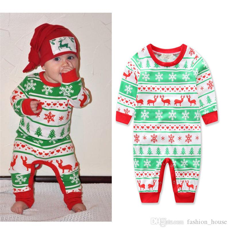 Kids Infant Baby Fawn snowflake Christmas Printing Cotton Romper Toddler Jumpsuits Children's Winter Kids Clothing Babies Clothes A08