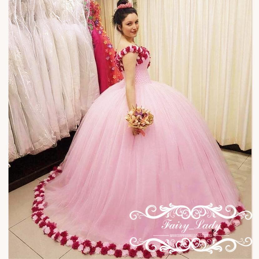 00464375b Compre Vestidos De Quinceañera De Color Rosa Largo Rebordear Con Flores  Rojas Oscuras 2018 Vestidos De Partido De La Bola Abullonada Hombro Encajes  Hasta 16 ...