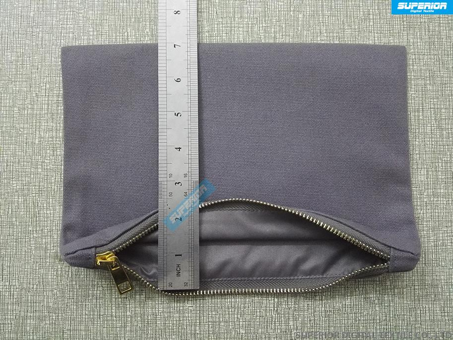 Beautiful And Durable Gray 12oz Cotton Canvas Cosmetic Bag Matching Gray Metallic Gold Zipper And Gray Lining 7x10 Inch